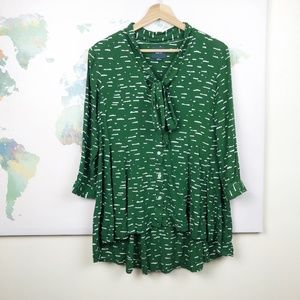 Anthropologie Maeve Tie-Neck Blouse Size Small